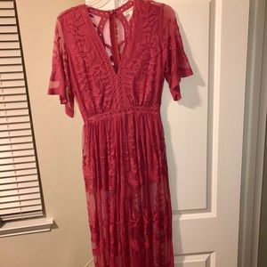 Honey Punch lace maxi dress w/ romper underneath